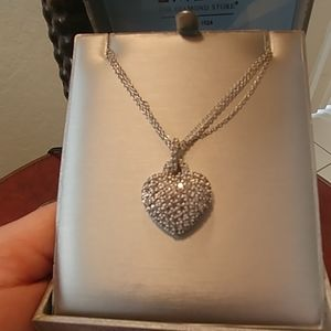 GORGEOUS Pave heart sterling silver necklace